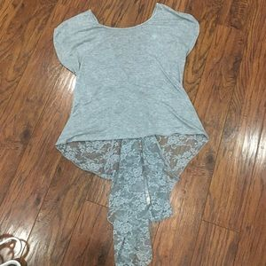 Lace Back Short Sleeve DOTS Top